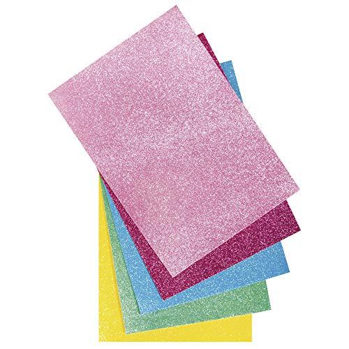 Rayher 53960000 Glitzer-Filz, 5 Platten, farblich sortiert (rosé, pink, türkis, maigrün, sonnengelb), 21 x 30 x 01 cm, 100% Polyester