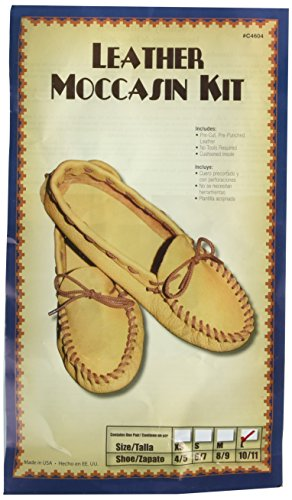 Realeather Crafts Leather Moccasin Kit, Size 10/11, Gold/Tan