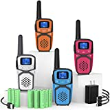 Rechargeable Adult Walkie Talkies, Portable Two Way Radio Walky Talky with Batteries Charger LCD Display VOX, Handheld 2 Way Radios for Adults Camping Hiking Cycling