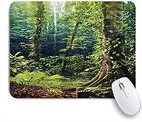 NIESIKKLAマウスパッド 熱帯雨林の朝の太陽光線は、自然の中の木の静けさで野生の森のツタを通して輝きます ゲーミング オフィス最適 おしゃれ 防水 耐久性が良い 滑り止めゴム底 ゲーミングなど適用 用ノートブックコンピュータマウスマット