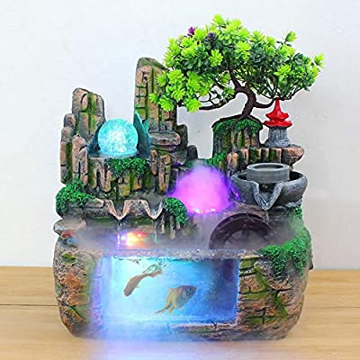 Caredy Tabletop Fountain, Simulation RockeryIndoor Fountain Waterfall Decor with Light Home Decor for Decorating Office, Living Room or Bedroom,etc