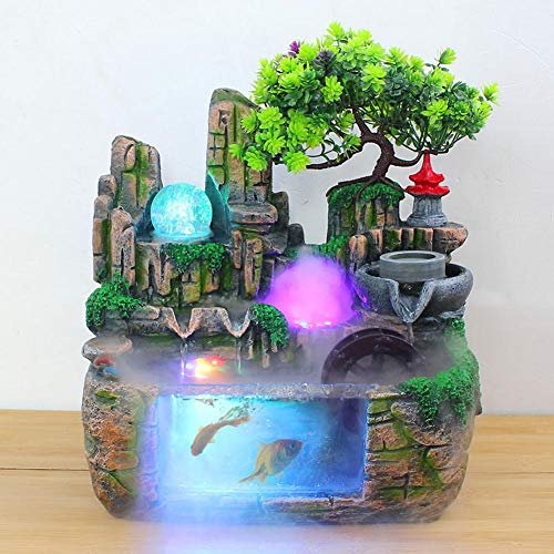 Caredy Tabletop Fountain, Simulation RockeryIndoor Fountain Waterfall Decor with Light Home Decor for Decorating Office, Living Room or Bedroom,etc(Atomizing Effect US Plug 110V)