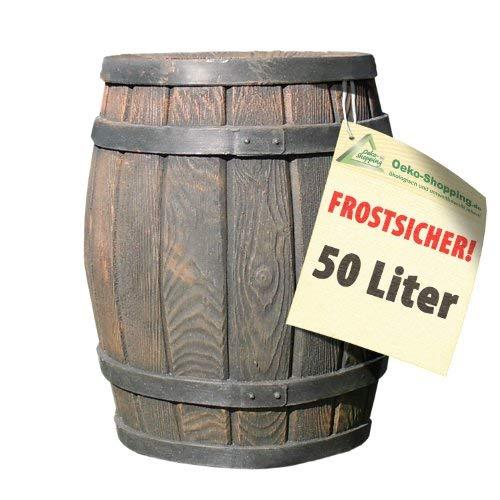 REGENTONNE REGENFASS WASSERFASS REGENWASSERBEHÄLTER REGENWASSERFASS GARTENFASS Eichenfass 50l Liter (Regenwassertonne Eichenfass 50L)