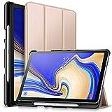 ZtotopCase Hülle für Samsung Galaxy Tab S4 10,5 2018 mit S Pen Halter,für Modell SM-T830/T835/T837,Leichtgewichts-Ultra Schlank Leder Hülle mit Ständer & Auto Schlaf/Aufwach Funktion,Gold