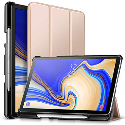 ZtotopCase Case for Samsung Galaxy Tab S4 10.5 2018 SM-T830/T835/T837,with S Pen Holder,Lightweight Tri-fold Stand Cover Folio Case with Auto Sleep/Wake Function,Gold