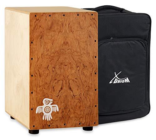 XDrum Cajon Peruana Hard Wood (3 mm Schlagplatte, 9 mm Birkenkorpus, 48 cm hoch, inkl. Rucksack-Tasche)