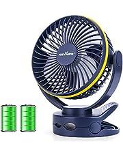 【2020年最新改良版】 KEYNICE usb扇風機 卓上扇風機 クリップ 充電式 usbファン 超強風 静音 風量4段階調節 360度角度調整 長時間連続使用 LEDライト機能付き