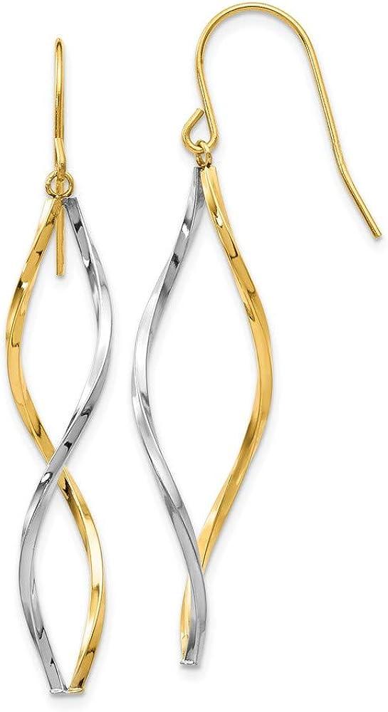 14k Two Tone Yellow Gold Ranking TOP11 Max 77% OFF Twist Dangle Chandelier F Earrings Drop