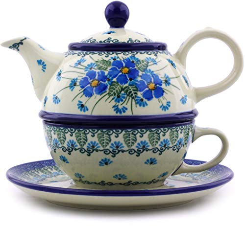 Find Bargain Polish Pottery 21 oz Tea Set for One made by Ceramika Artystyczna (Forget Me Not Theme)...