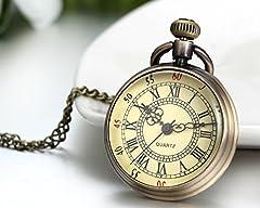 JewelryWe Retro Vintage Roman Numerals Dial Quartz Transparent Glass Lid Pocket Watch Long Necklace Pendant 31.7 Inch Chain (with Gift Bag) #2