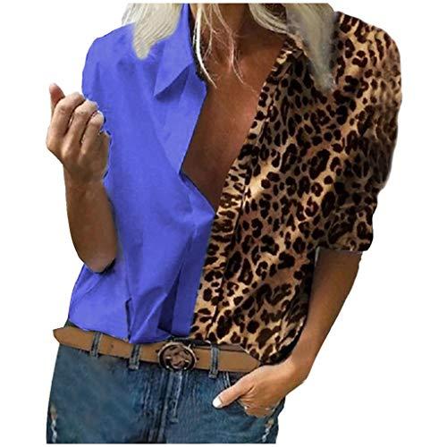 Camiseta mujer moda estampada,Blusa casual con estampado de leopardo para mujer, camisa de manga larga con botones tops blusas sudadera YANFANG