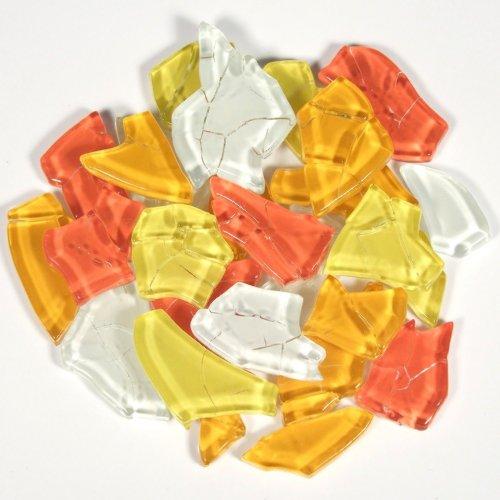 125g Crash-Glas Mosaiksteine unregelmäßige Form Gelb-Rot-Mix