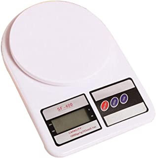 Digital Kitchen Scale 10kg Electronic Cooking Food Scale, Weighing Scales with LCD Display, Accurate Gram, Slim Design, for Home, Kitchen, Batteries Included - White