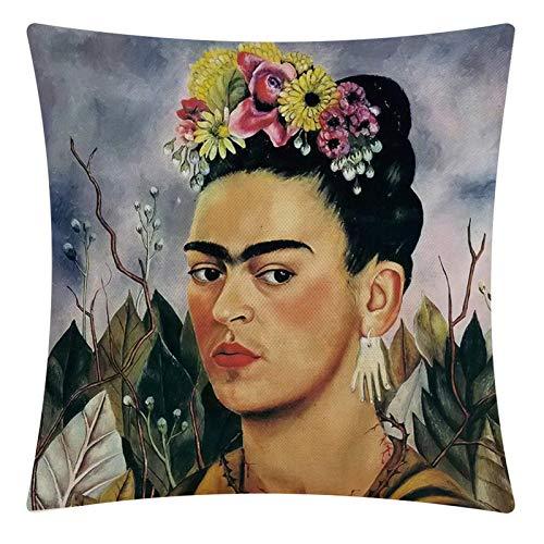 Adecuado para cojines de Frida Kahlo, fundas de almohada de autorretrato de lino de algodón estilo mexicano, almohadas decorativas (para coches, sofás, camas) 45cm x 45cm