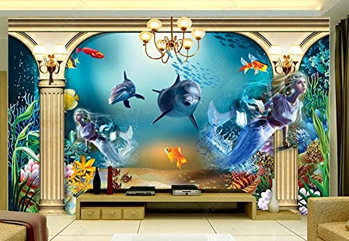 Wallpaper 3D Wallpapers Walls Mural Underwater World Dolphin Mermaid Wall Murals for Bedrooms Living Room Tv Background Wall Mural Decoration Art 250x175cm