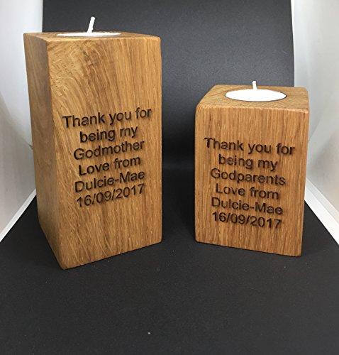 Premium Timbers Handmade solid oak tea candle holder (130mm engraved)