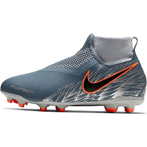 Nike Jr Phntom Vsn Academy DF Fg/MG, Scarpe da Calcetto Indoor Unisex-Bambini, Multicolore (Armory Blue/Black/Hyper Crimson 408), 32 EU