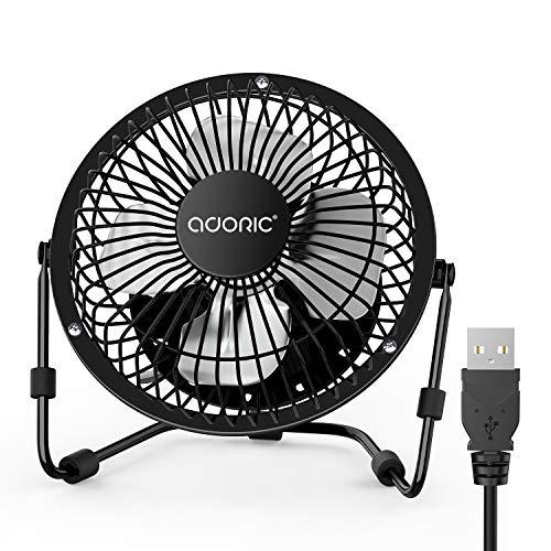 Adoric Ventilador de mesa USB Fan Ventilador de escritorio USB ideal para la oficina, compatible con ordenador portátil, adaptador, cargador de coche (bronce, 4 pulgadas)