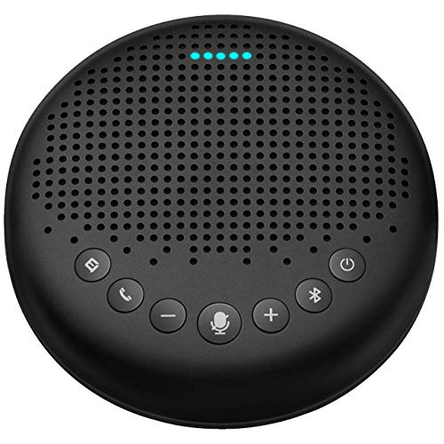 Bluetooth Speakerphone – Luna Computer Speakers with Microphone w/Enhanced Noise Reduction Algorithm, Daisy Chain, w/Dongle USB Speakerphone for Home Office, 360° Voice Pickup for 8 People Black
