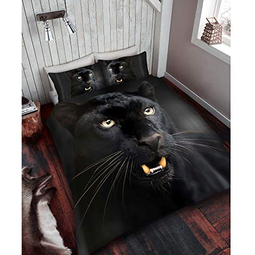 Duvet cover set 3d animal print effect quilt bedding set poly cotton new (Black Panther print, double) by Nightzone