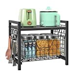 Kitchen Cabinet Organizer Basket Spice Rack organizer Pots Pans Countertop Storage With Sliding Drawer Pull Out Sliding Basket Desktop Organizer Black