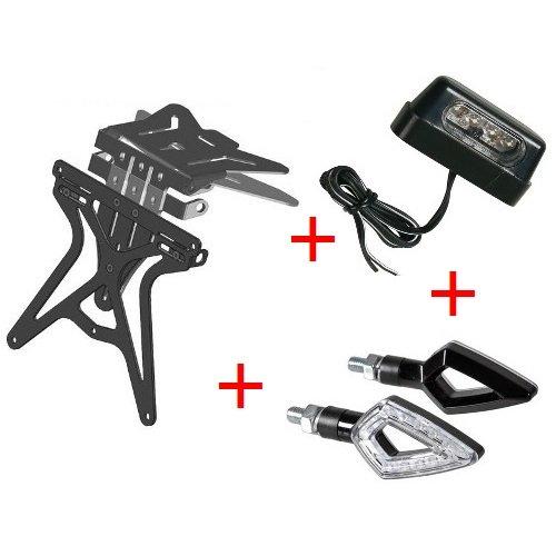 Kit support de plaque d'immatriculation pour moto universel + lumière plaque d'immatriculation + Flèches Lampa Yamaha TT 250 R 2000 – 2002