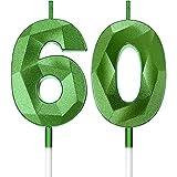 Velas de 60 Cumpleaños de Verde Velas de Número de Pastel Decoración de Topper de Velas de Tarta de Feliz Cumpleaños para Suministros de Celebración Boda Aniversario