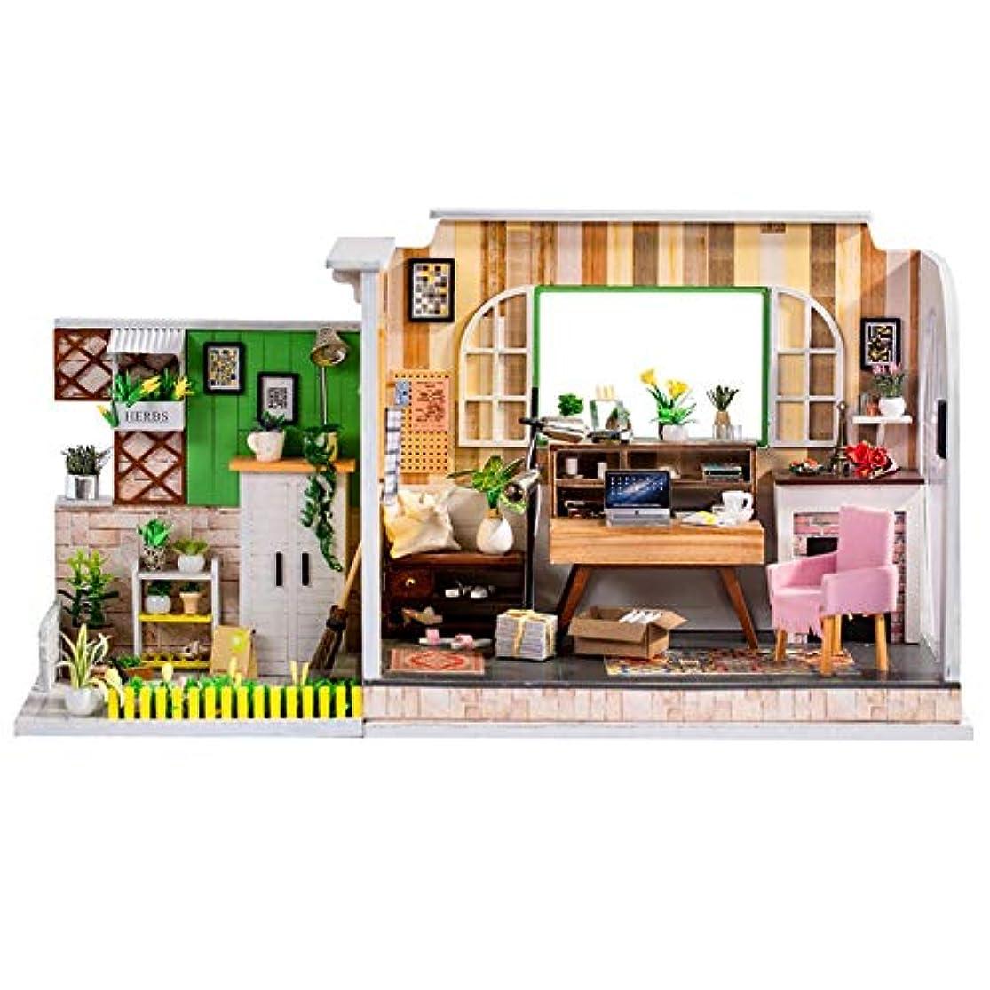 ライム提供されたやさしくアリスの人形屋Diy作業部屋家具子供ミニチュア木製ドールハウスモデル構築キットドールハウス玩具誕生日クリスマスギフト,215