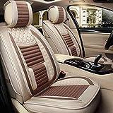 N\A Car Seat Cover Set Completo de Lino Respirable cómodo Ajuste Universal 5 Asientos más Coches, Camiones, SUV (Airbag Compatible) (Color : Coffee Color)