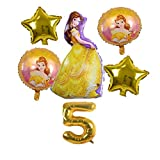 XINGYAO Globo Aurora Cenicienta Belle Snow Blanco Princesa Follo Globo Set Girls Cumpleaños Fiesta Decoración Suministros Número de bebé decoración (Color : Golden 5)