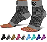 SB SOX Compression Foot Sleeves for Men & Women - BEST Plantar Fasciitis Socks for Plantar Fasciitis Pain Relief, Heel Pain, and Treatment for Everyday Use with Arch Support (Gray, Medium)