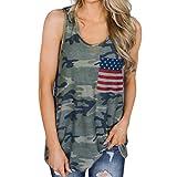 TOPUNDER American Flag Camo Vest for Women Star Sewn Crew Neck Tank Top Sleeveless Shirt