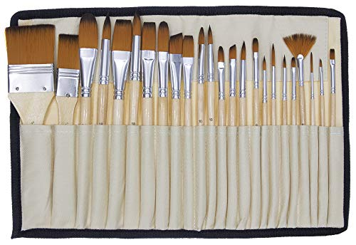 Jerry Q Art 24 Pcs Artist Paint Brush Set with Free Carry Pouch for Watercolor, Acrylic, Oil and All Media, Suitable for Canvas, Paper, Ceramic, Golden Nylon Hair, Wood Handles JQ-B24