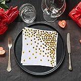 nuoshen Party-Tischdecken mit goldenen Punkten, 50 Servietten, eine einmalige Papier-Tischdecke, ideal für Geburtstagspartys - 7