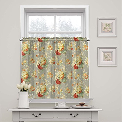 WAVERLY Sanctuary Rose Modern Farmhouse Short Rod Pocket Cafe Tier Window Curtains for Kitchen or Bathroom, Double Panel, Living Room, CLAY