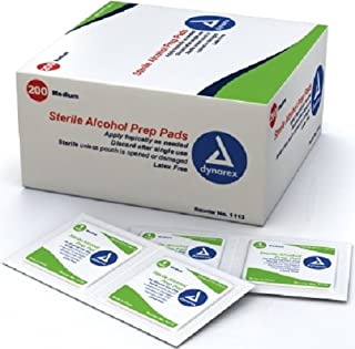 Dynarex 1113 Latex Free Sterile Alcohol Prep Pad (Box of 200)
