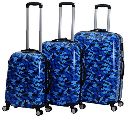 3 TLG.Trolley Set Kofferset Carbon Hartschale Koffer Zahlenschloss Camouflage (Blau)