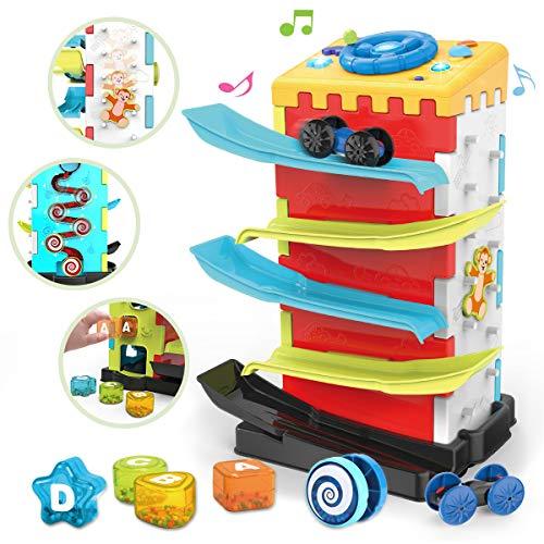 REMOKING 5 IN 1 Spielzeug für Kinder, Lernspielzeug mit Autorennbahn & Auto Lenkrad & Formensortierspiel & Spiralspiel & Affenerkundungswand (18 Monate +)