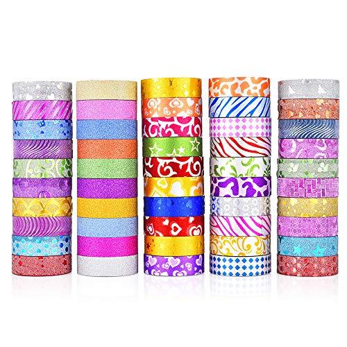 50 Rollen Glitzer-Washi-Tape-Set, dekoratives Klebeband für Bastelarbeiten, Scrapbooking, DIY, Geschenkverpackungen