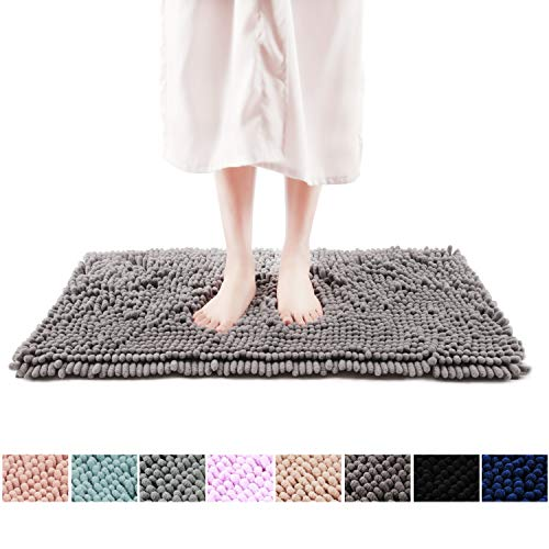 FRESHMINT Chenille Bath Rugs Extra Soft Fluffy and Absorbent Microfiber Shag Rug, Non-Slip Runner Carpet for Tub Bathroom Shower Mat, Machine-Washable Durable Thick Area Rugs (16.5' x 24', Gray)