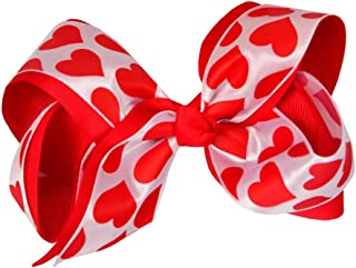 4.5 Sweet Heart Print Hair Bows Pink Red Dot Hair Clips For Girls/kids Lovely Valentines Day Hairgrips Hair Accessories Accessories Girls' Clothing