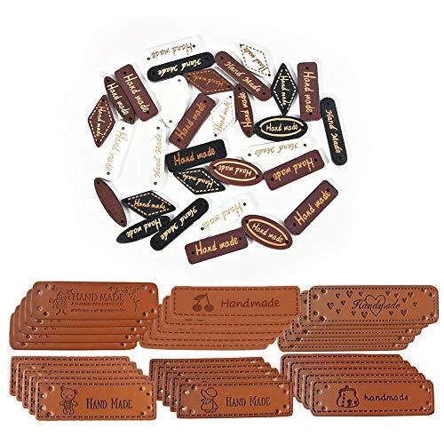 Nsiwem Etiquetas Handmade 130 Piezas Etiqueta Hecha a Mano de Ropa Etiquetas Personalizadas Botones de Madera y Etiqueta de cuero de la PU con agujeros para DIY Artesanía Bolsos Sombrero
