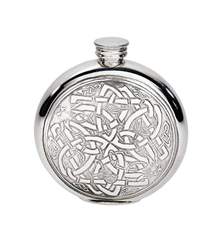 Wentworth Pewter - Celtic Circle Round Pewter Flask, Spirit Flask, 6oz Capacity