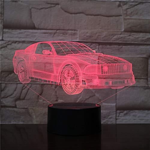 hqhqhq Motor Cars Bus Van Design 3D Holograma LED Luz de Noche 7 Colores Lámpara cambiante Acrílico Ilusión Lámpara de Escritorio para niños Regalo Dropship 111