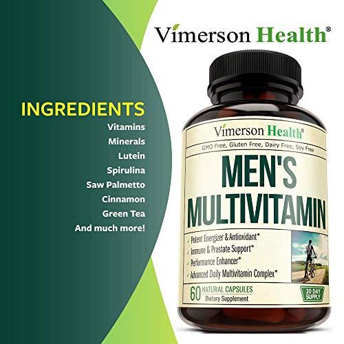 Men's Daily Multimineral Multivitamin Supplement. Vitamins A C E D B1 B2 B3 B5 B6 B12. Magnesium, Biotin, Spirulina, Zinc. Antioxidant Properties, Immune Health. 60 Capsules 4