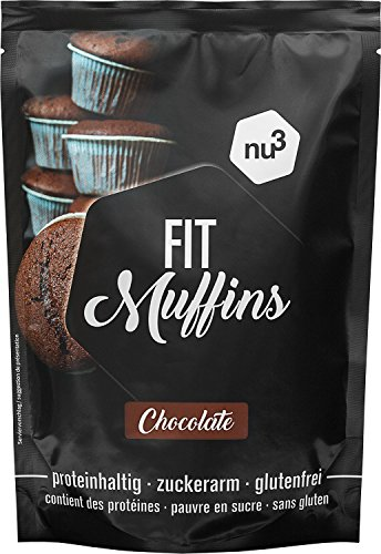 nu3 Muffin Proteici al Cioccolato Low Carb 240 g - Preparato per 12 Muffins Senza Lattosio e Senza Glutine - Solo 132 kcal e Meno di 2 g di Zucchero - Ricco di Fibre