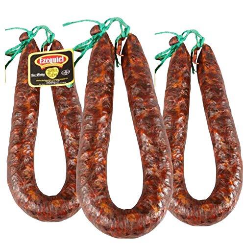 Chorizo Extra Dulce Ezequiel - Lote 3 Chorizos Dulce - Embutidos Ezequiel - Peso Aproximado Unidad 425 g - Chorizo Sin Gluten Sin Lactosa - Ahumado con leña de roble