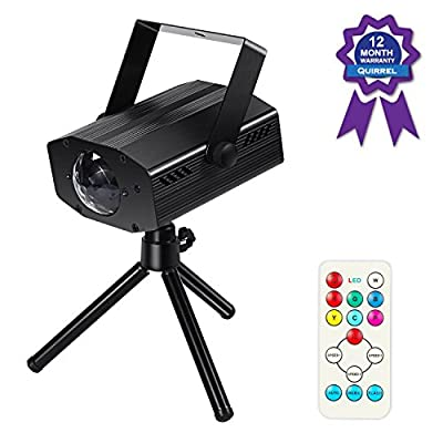 Quirrel Disco Party Lights, 12W LED 7 Colors Ocean Wave Sound Activated Strobe DJ Projector Flash Lamp with Remote Controller for Parties, Dancing, Wedding, Karaoke, Bars and more