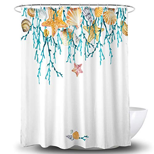 Get Orange Starfish Shower Curtain, Watercolor Coral Starfish Shell Conch Polyester Fabric Shower Curtain Bathroom Sets Decor with Hooks 72 X 72 Inches