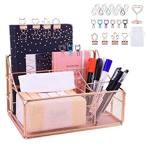 Schreibtisch Organizer, Tisch Organizer Metall mit Stiftehaltern, Büro Organizer in Roségold, 24 x14 x 13 cm